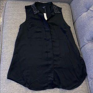 Madewell black silk sleeveless top